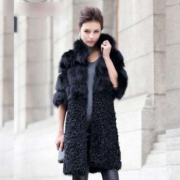 9fdcb5d63 New Natural Fox Fur Coat Women's Lady Winter Long Real Lamb ...