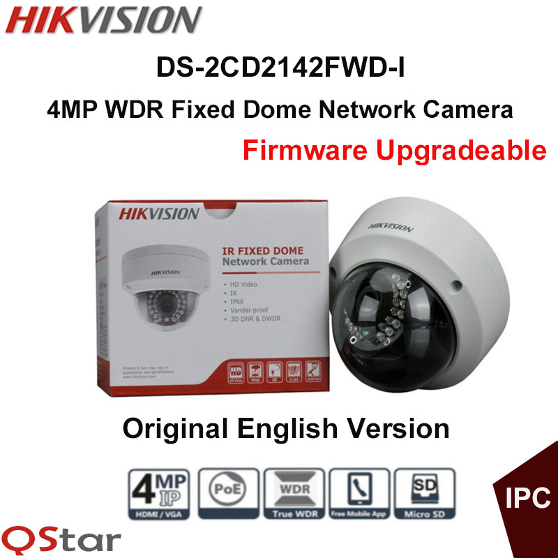 Hikvision Original English IP Security Camera DS-2CD2142FWD-I 4MP WDR Fixed Dome IP Camera IP67 POE CCTV Camera IK10 крючок am pm inspire двойной a5035664