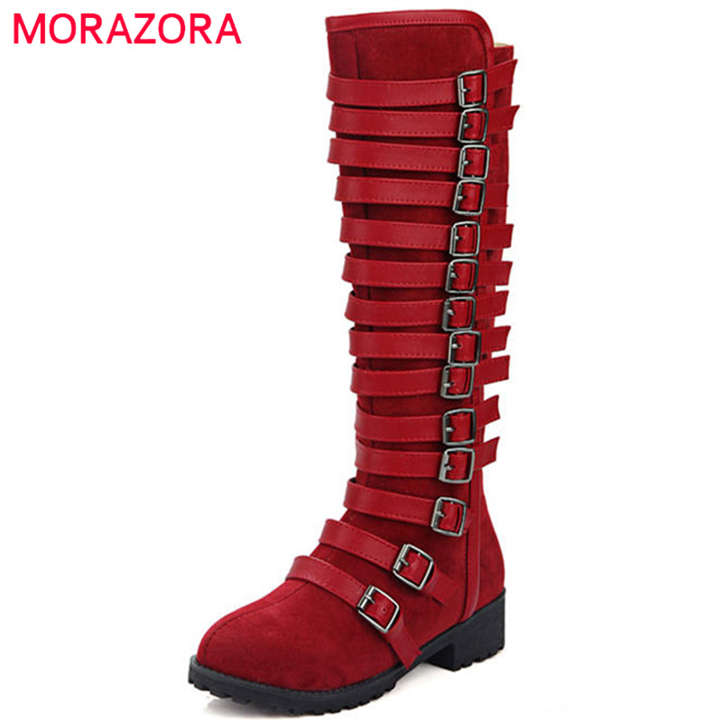 MORAZORA 2018 big size 34-46 knee high boots women round toe flock autumn winter boots zipper buckle punk ladies boots 2016 new arrival 15cm ladies motorcycle autumn and winter boots round toe 6 inch high heel boots sexy flock buckle boots