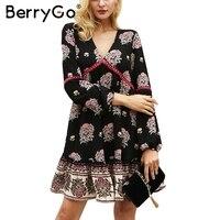 BerryGo Floral Print Ruffle Chiffon Dress Women Long Sleeve V Neck Winter Dress Hollow Out Robe