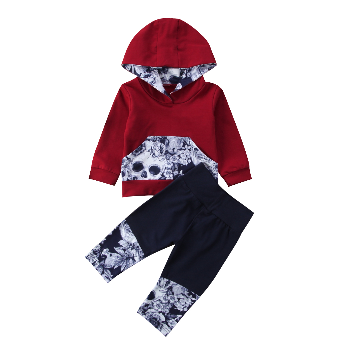 2pcs Newborn Toddler Baby Boys Warm Hooded Top Skulls +Pants Outfits Baby Boy Winter Clothes Home Tracksuit