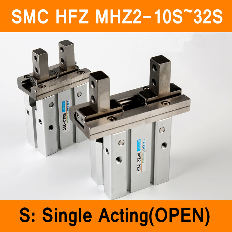 HFZ MHZ2 10S 16S 20S 25S 32S Single Acting Normally Open Mini Grippers Pneumatic Finger Cylinder SMC Type Aluminium Clamps high quality double acting pneumatic gripper mhy2 25d smc type 180 degree angular style air cylinder aluminium clamps