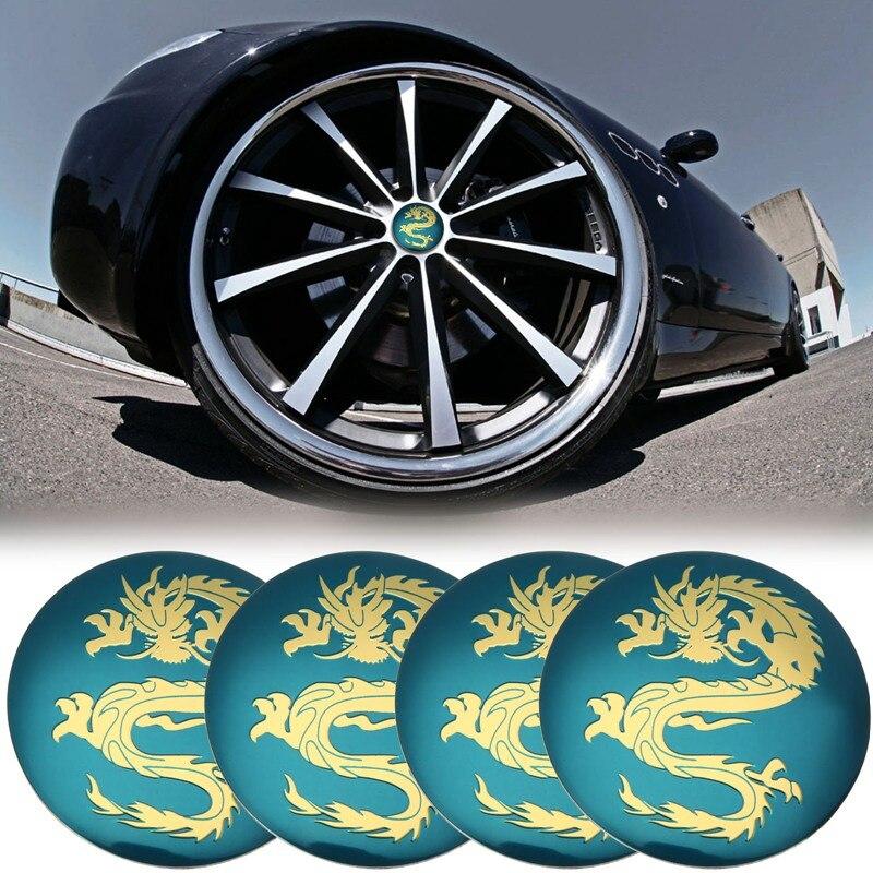 45mm 50mm 56mm 60mm Stripe Carbon fiber 4PCS Car Emblem Wheel Center Cap Sticker
