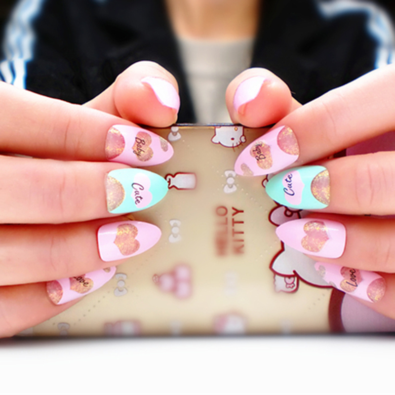 Long Fake Nail LOVE Pattern Stiletto Nails Pretty Girl Manicure ...