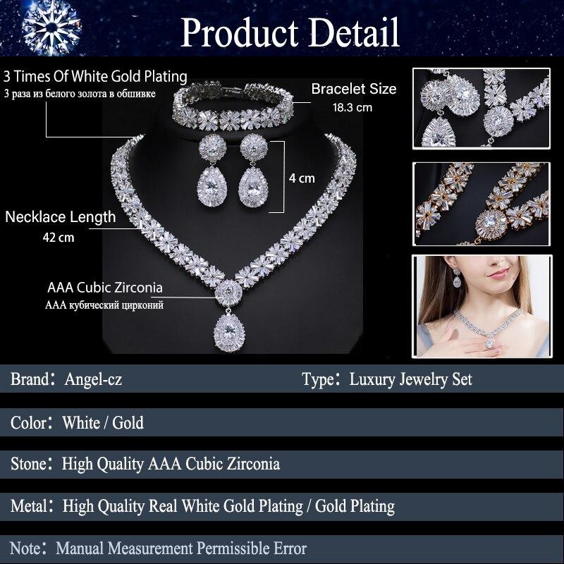 ANGELCZ magnifique Dubai or couleur CZ ensembles de bijoux pour mariage nigérian africain collier goutte d'eau boucles d'oreilles Bracelets ensemble AJ130 - 5