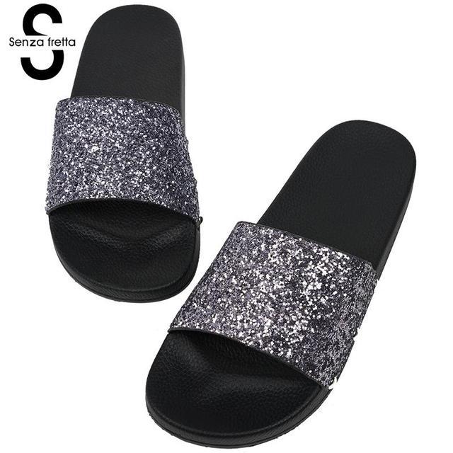 c2526168b Senza Fretta 2019 Women Summer Home Slippers Flip Flops Peep Toe Sandals  Glitter Sandals Platform Ladies Shoes zapatos mujer
