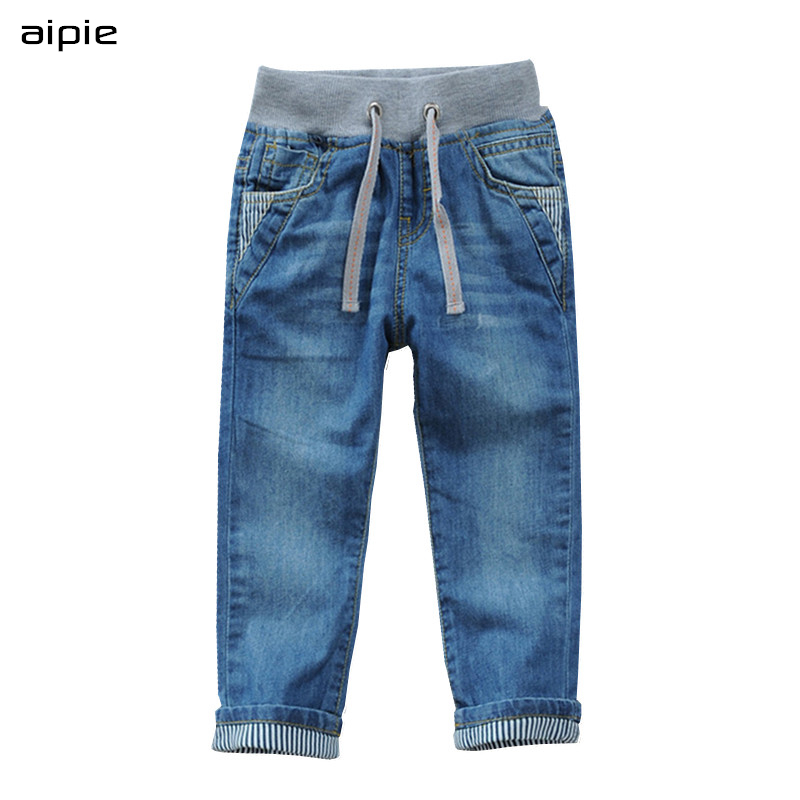 Aipie Top Quality Autumn Children Jeans For Boys Jeans Pants For 2-14 Year Kids Waer
