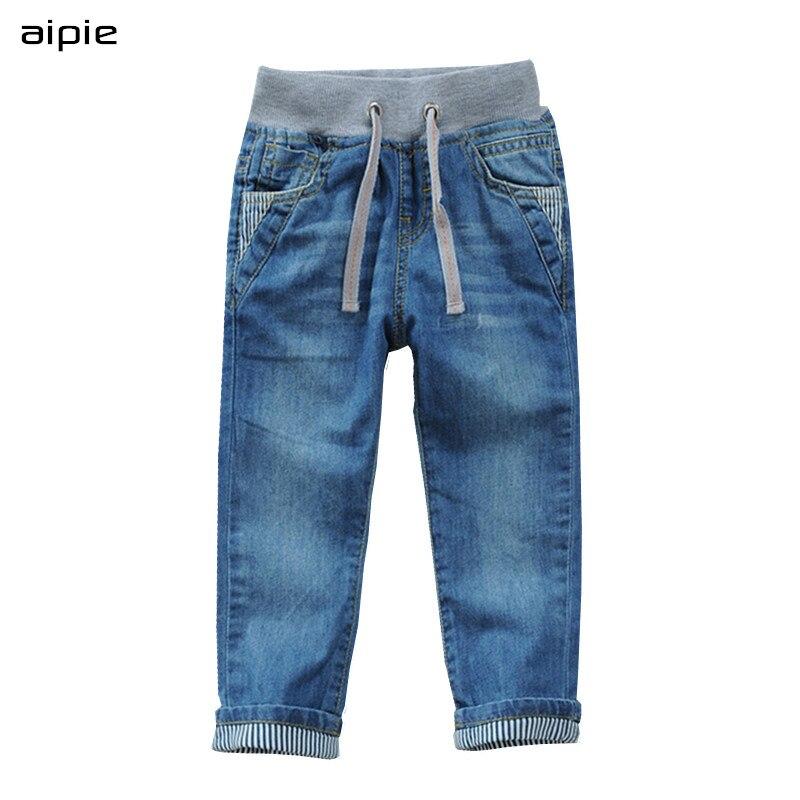 Aipie Top qualidade Outono Crianças Jeans Para Meninos calças Jeans Para 2-14 ano crianças waer