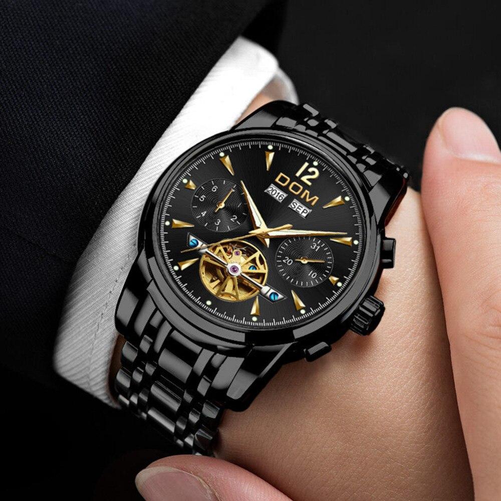 DOM Mechanical Watch Men Wrist Automatic Retro Watches Men Waterproof Black Full Steel Watch Clock Montre Homme M 75BK 1MW - 4