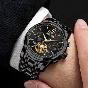 Image 4 - DOM ساعة ميكانيكية الرجال المعصم التلقائي ريترو ساعات الرجال مقاوم للماء الأسود كامل الصلب ساعة ساعة Montre أوم M 75BK 1MW