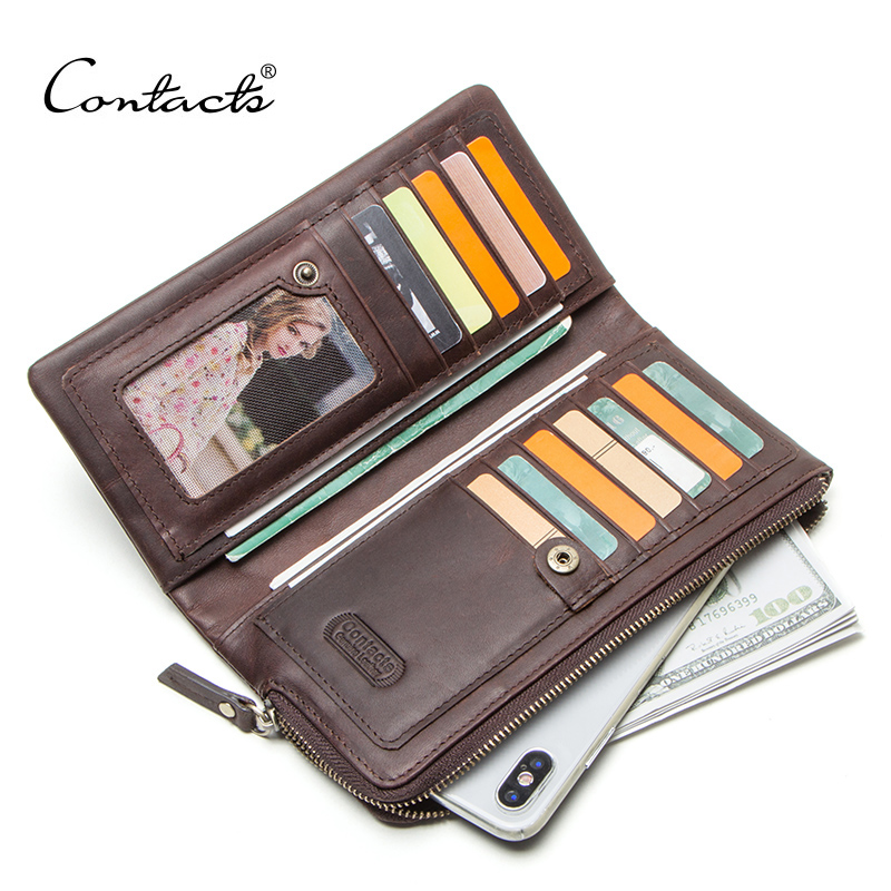 CONTACT'S Genuine Leather Vintage Wallet Men For Cell Phone Man's Clutch Long Wallets Men's Coin Purse Male Cuzdan Card Holders