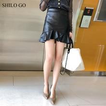 SHILO GO Leather Skirts Womens Spring Fashion sheepskin genuine leather Skirts high waist lady office sexy trumpet skirts