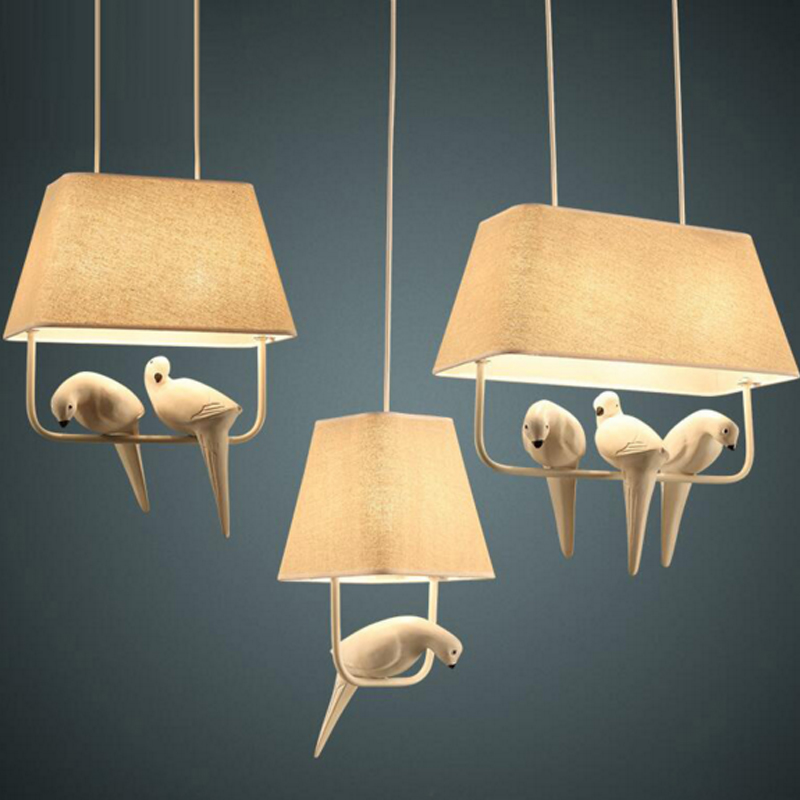 Rural Iron Pendant Lights Living Room Modern Hanging Lamp Bedroom Light Creative Personality Bird Pendant Lamp for Dining Room modern wicker pendant light bird cage hand knitting pendant hanging dining room lamp american style for living room lighting