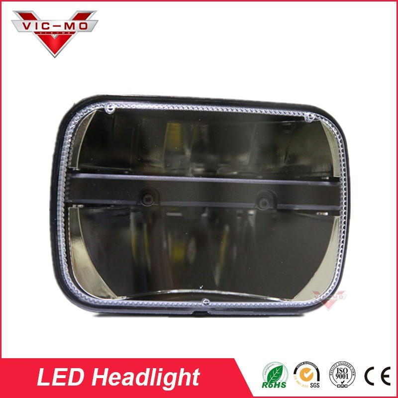 New 6x7 LED Headlight H4 Light fits for Jeep Wrangler YJ Cherokee Comanche 5x7 Square Headlights Leds working lights windshield pillar mount grab handles for jeep wrangler jk and jku unlimited solid mount grab textured steel bar front fits jeep