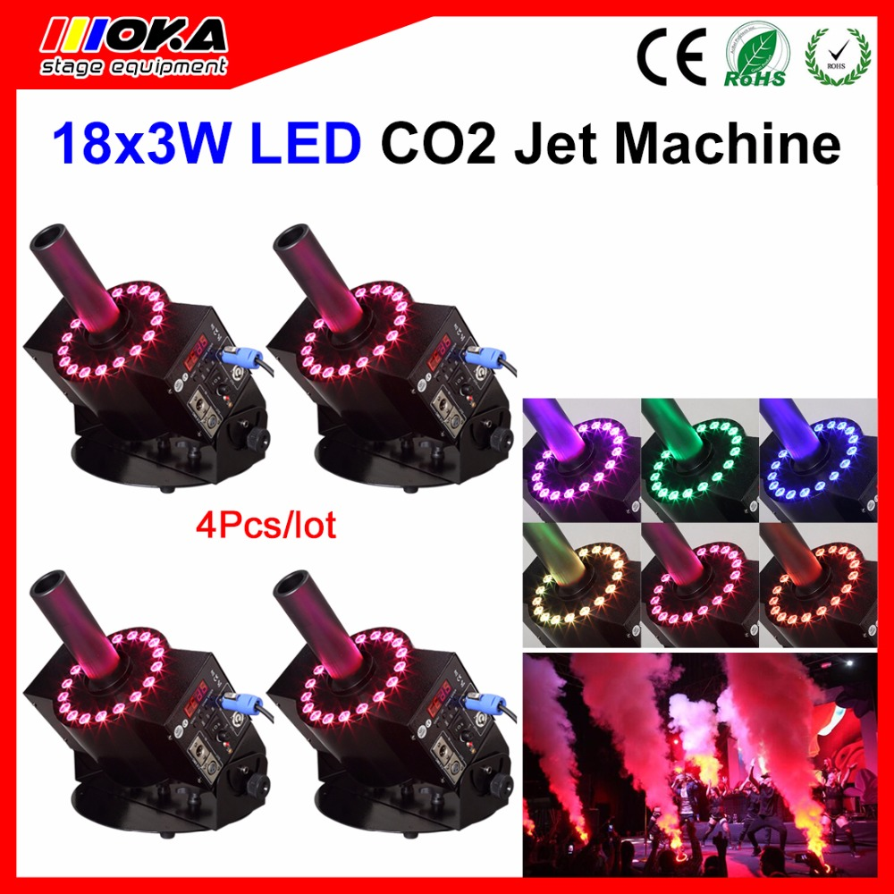 4Pcs/Lot dmx RGB led jet co2 machine fog co2 jet machine led co2 spray smoke with stage effect 1 pcs12 3w led co2 jet machine dmx co2 jet led rgb led dmx 512 co2 column jet cryo fogger stage effect blast dj machine
