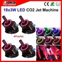 4Pcs/Lot dmx RGB led jet co2 machine fog co2 jet machine led co2 spray smoke with stage effect