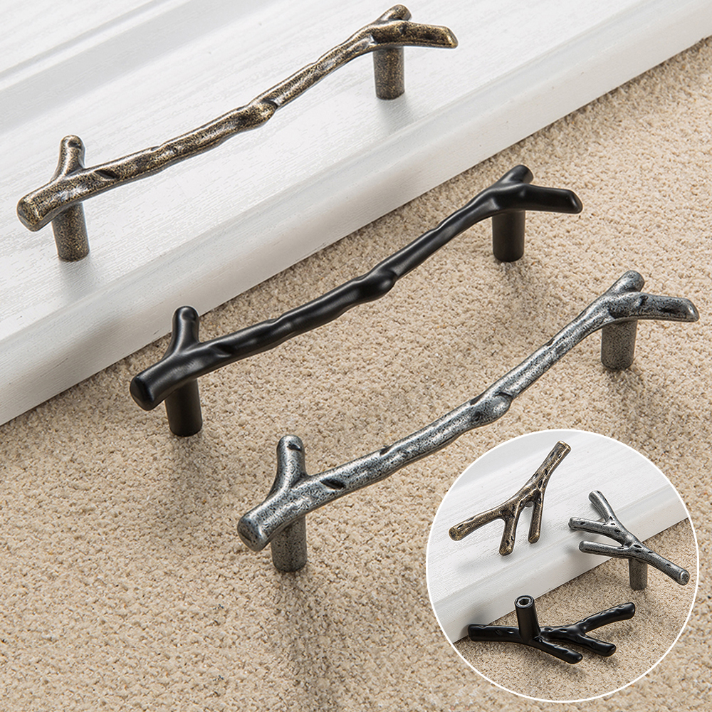 MEGAIRON Vintage Style Twig Tree Branch Cabinet Knob Drawer Pull Handle Cupboard Hardware Knobs vintage style twig shape flower embellished women s earring