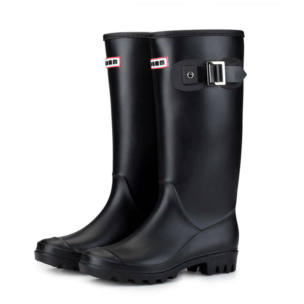 Women Wellington Rain Boots Pull-on Block Heel Winter Cold Weather Oil Resistant High Insulated Waterproof Anti-slip Buckles