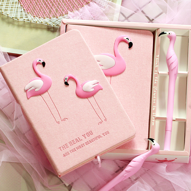 Korean creative student book Flamingos wooden notebook horse Notepad with pen Stationery set Ins hot student graduation gifts