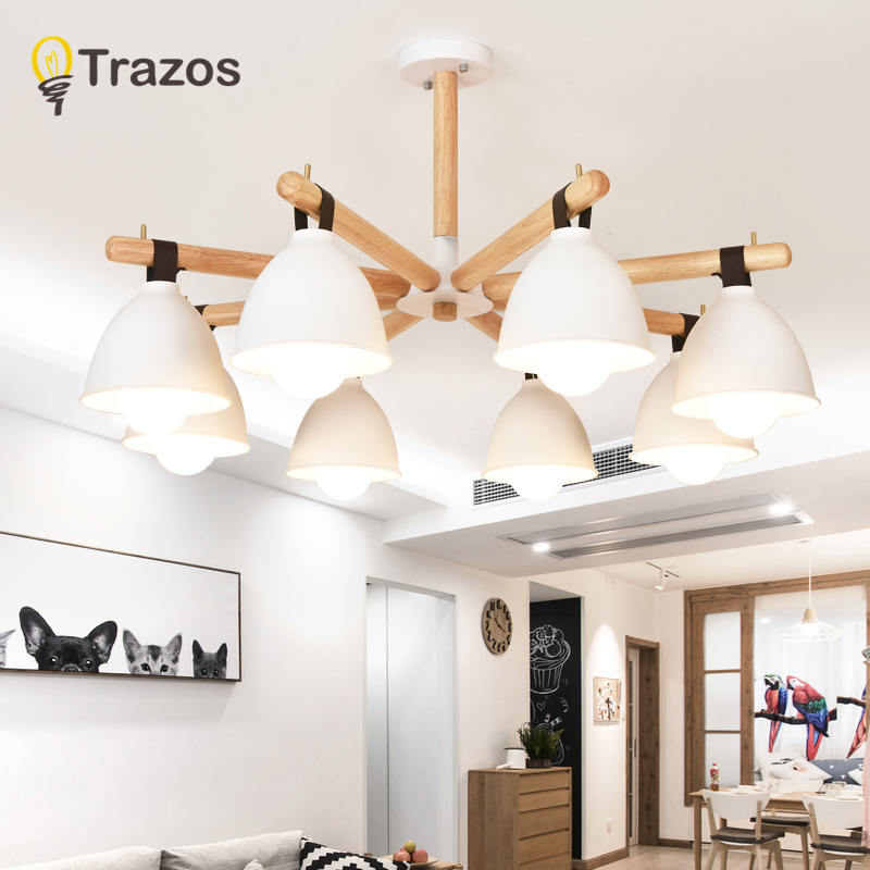 TRAZOS Modern Pendant Lamp Wooden Creative Circle Pendant Light LED Firework Lamp Ball Restaurant Lamparas Lustre 110-240V modern europe stainless steel creative circle pendant light led firework lamp ball lamp for restaurant living room cafe bar