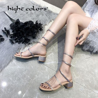 New Sexy Red Heart Rhinestone Crystal Drilled Straps Chunky Heels Leg Twined Sandals Women Cut out Open Toe Girl's Bling Sandals