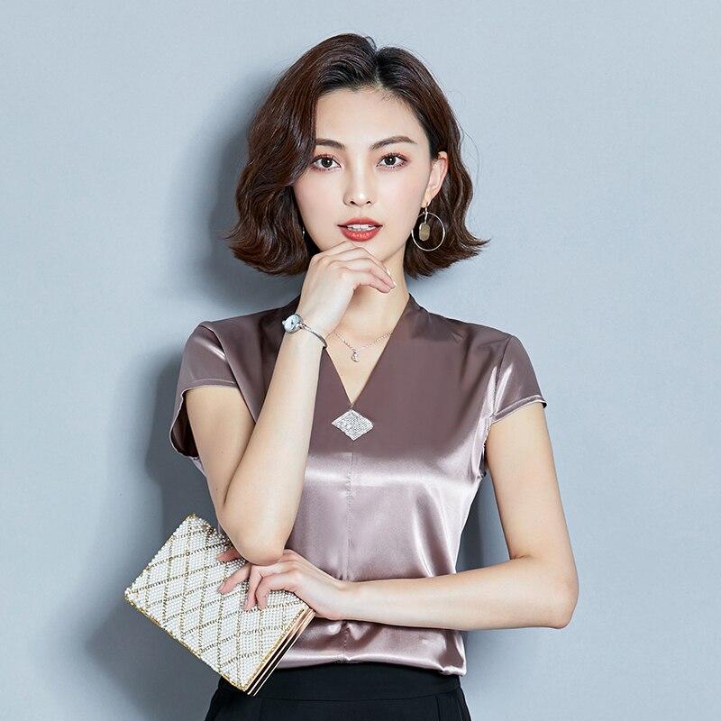 Korean Fashion Silk Women Blouses Satin V-Neck Sleeveless Red Women Shirts Plus Size XXXL Womens Tops and Blouses