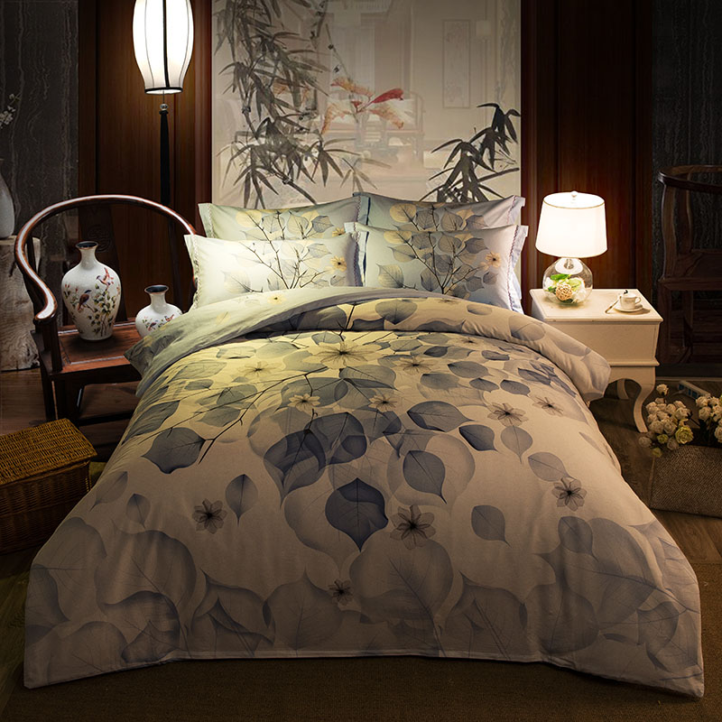 Vivid leaves Printed Bedding Set Full Queen King Size Bedspread Duvet Cover Cotton Woven 600TC Light Blue Color Adult Girls HomeVivid leaves Printed Bedding Set Full Queen King Size Bedspread Duvet Cover Cotton Woven 600TC Light Blue Color Adult Girls Home