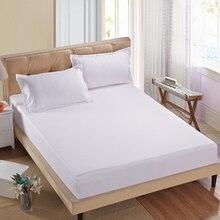 1pc 100% sábana bajera de poliéster cubierta de colchón de Color sólido, ropa de cama sábanas con banda elástica 160cm * 200cm doble Size88