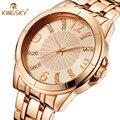Relógios das mulheres marca de luxo kingsky flor liga analógico de quartzo relógio de marcação de diamante do sexo feminino business casual relógio de pulso pulseira 2016