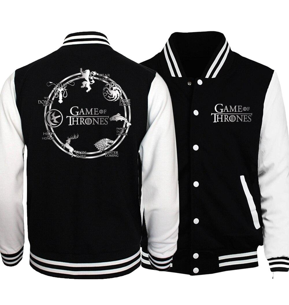 Game of Thrones Jacket Men Stark Coat Team Targaryen Fire & Blood Jackets Mens 2018 Spring Autumn Warm Print Baseball Uniform
