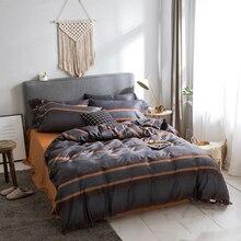 Modern style bedding set Egyptian cotton fabric Queen King Size stripe duvet cover flat sheet pillowcase