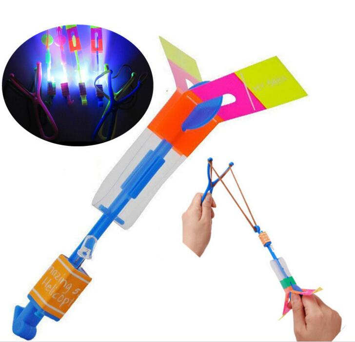 50 pieces Lot Slingshot LED Copter Lighting up Toy Led Arrow Helicopter Flying Rocket Helicopter Flying