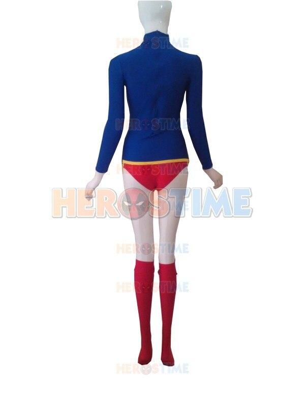 Supergirl Costume Halloween Cosplay Leopardo rojo y azul diseño - Disfraces - foto 4
