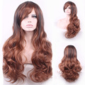 70cm Fashion New Long Curly Wavy Synthetic Wigs Tilted Frisette Women Wigs Hair Wig Girl Gift Black Brown HB88