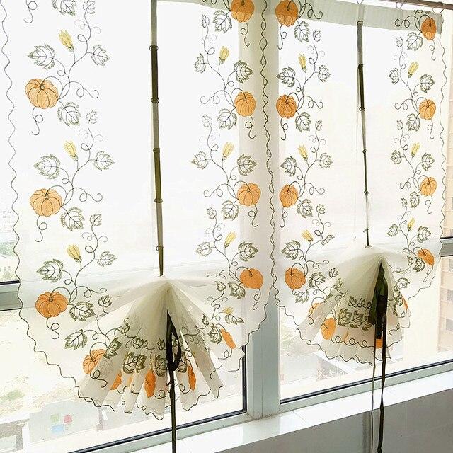Pumpkin Embroidery Kitchen Curtains 100 Cotton Linen For Living Room Set Adjustable Balloon Window