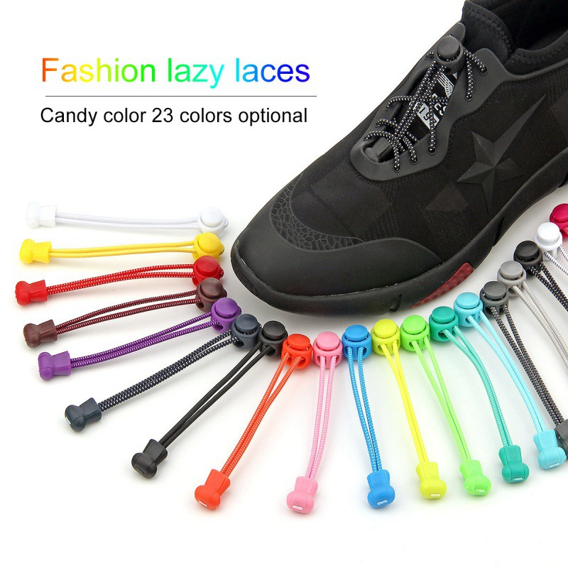 19 Colors No Tie Shoe Laces Elastic Lock Lace System Lock Sports Shoelaces Runners Trainer Baseball Shoes Laces