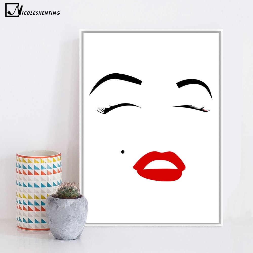 Сексуальная звезда фильма Мэрилин Монро Плакат арт в стиле минимализма Холст Картина Красная губы настенное изображение, принт современные домашние украшения для комнаты C498