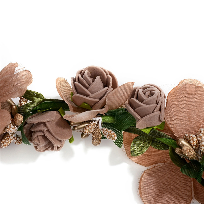 Rose Flower Leaves Floral Hairbands For Women Girls Bridal Wedding Garland Wreath Headbands Beach Hair Accessories 6 Colors in Hair Jewelry from Jewelry Accessories