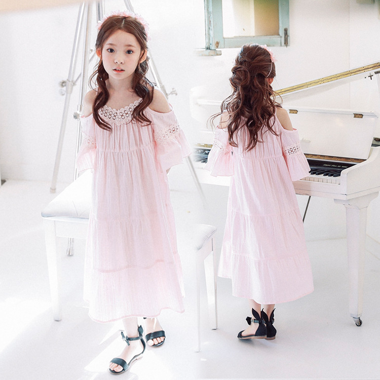 3-10Yrs Baby Girls Princess Dresses Lace Ruffles Bebe Teens Children Mid-Calf Dress Baby Kids Clothes for Birthday Party Casual