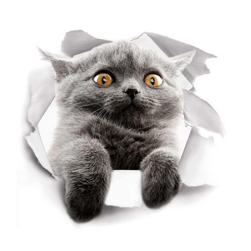 Hot 3D Cute Kitten Closestool Sticker Kids Bedroom Wall Deocration Cat Cartoon Fridge Sticker