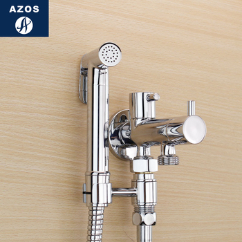 Azos Bidet Faucet Pressurized Shower Nozzle Brass Chrome Cold Water Two Function Toilet vegetable Sink Washing Machine Round