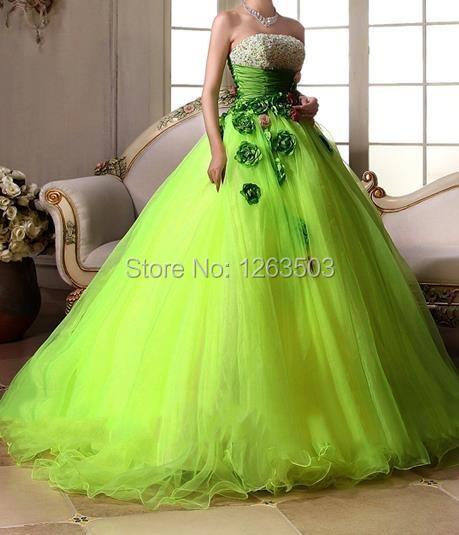 2015 Light Green Tulle Wedding Dresses Strapless Sleeveless Lace up ...