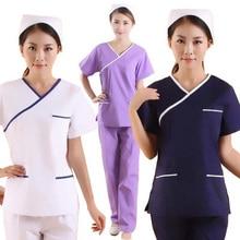 Женская мода скрабы Цвет Блокировка дизайн медицинской формы(вы можете выбрать топ/пару брюк или весь комплект