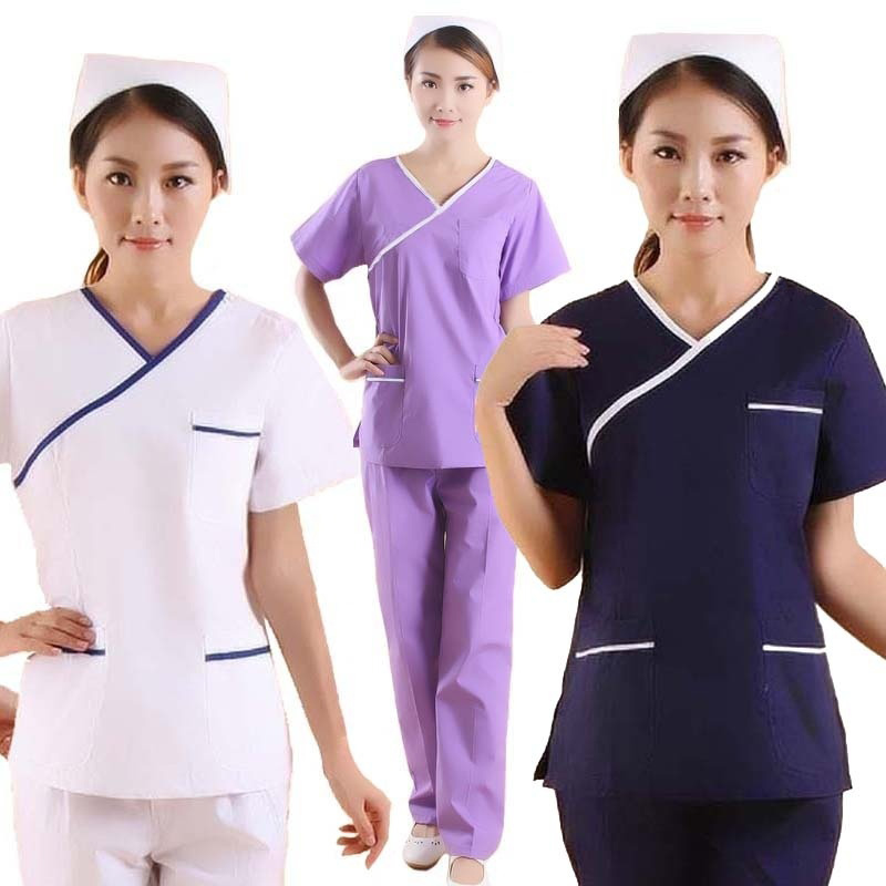 Women's Fashion Scrubs Color Blocking Design Medical Uniforms(you Can Choose A Top/a Pair Of Pants Or A Whole Set)