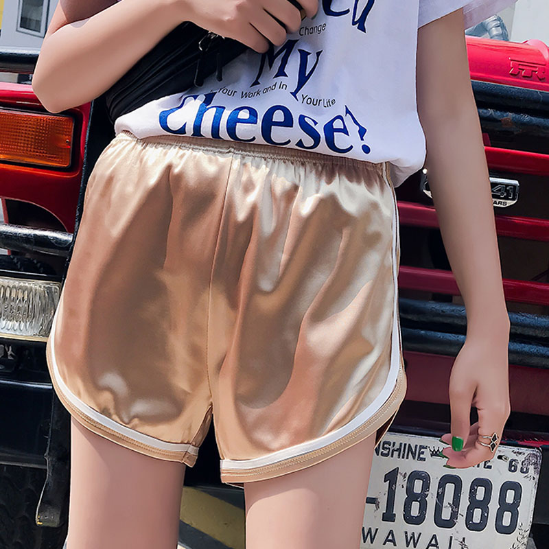 Chic bright silk shorts woman summer high elastic waist gold red short pants fashion solid color dance new sexy shorts plus size