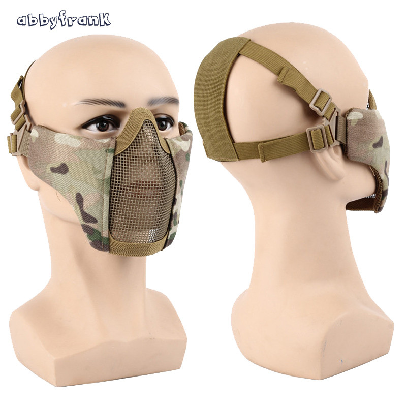 Abbyfrank Half Face Cool Mask Hot Airsoft Mask Halloween CS Lower Metal Steel Net Mask Paintball Amry Cosplay Kids Gadget Toys