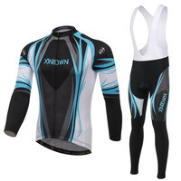 XINTOWN Genuine Blue Bike Riding Jersey Strap Long Sleeved Suit Wear Bicycle Suits Fleece Wind Warm