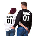 2016 New Autumn Funny King Queen 01 Letter Couple Hoodies Women O Neck Long Sleeve Pullover Sweatshirt Valentine Gift F3