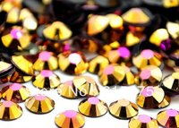 3mm Jelly Gold Hematite AB Color SS10 crystal Resin rhinestones flatback,Nail Art Rhinestones,100,000pcs/bag