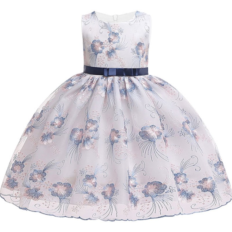 Party   Dress   for   Girls   Vestidos Embroidery   Flower     Girls     Dresses   for 3-10 Years Baby   Girls   Clothes Sleeveless Princess Wedding